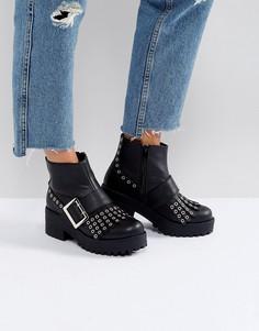 Ботинки на толстой подошве с пряжкой и бахромой Park Lane - Черный