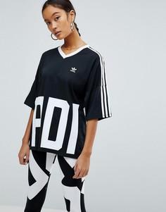 Футболка с V-образным вырезом и тремя полосками adidas Originals Bold Age - Черный
