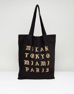Черная сумка-тоут с принтом ASOS - Черный