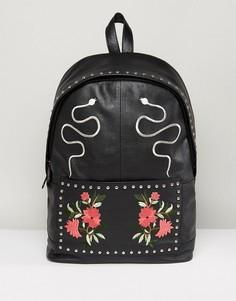 Черный кожаный рюкзак с вышивкой ASOS - Черный