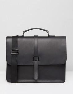 Кожаный портфель с ремешком ASOS - Черный