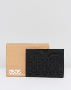 Черная кожаная визитница с вырезами ASOS - Черный