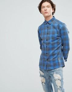 Зауженная джинсовая рубашка в клетку ASOS - Синий