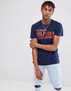 Темно-синяя футболка с принтом логотипа Tommy Hilfiger Denim - Темно-синий