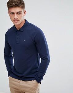 Темно-синее поло из пике с длинными рукавами и логотипом-флажком Tommy Hilfiger Denim - Темно-синий