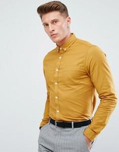 Приталенная оксфордская рубашка горчичного цвета ASOS - Желтый