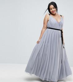 Платье макси из тюля с ленточным поясом ASOS CURVE - Серый