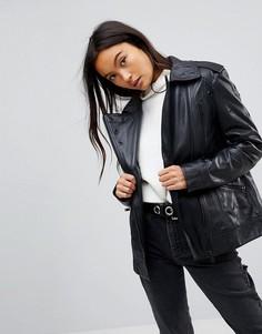 Кожаная байкерская куртка с люверсами ASOS - Черный