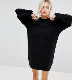 Свободное трикотажное платье ASOS PETITE - Черный