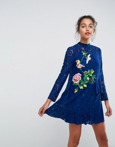 Кружевное платье мини с вышивкой ASOS - Мульти