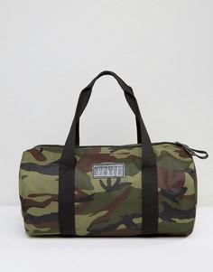 Парусиновая сумка дафл с камуфляжным принтом Systvm - Зеленый