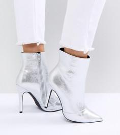 Ботильоны на каблуке с эффектом металлик для широкой стопы New Look - Серебряный