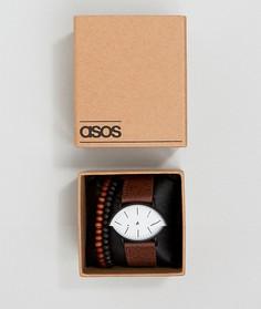Браслет и часы с коричневым ремешком из искусственной кожи ASOS - Коричневый