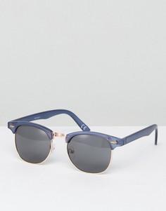 Темно-синие солнцезащитные очки в стиле ретро с дымчатыми стеклами ASOS - Синий