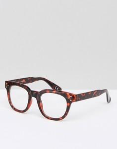 Квадратные очки с прозрачными стеклами ASOS - Коричневый