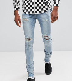 Выбеленные синие супероблегающие джинсы с рваной отделкой Sixth June TALL - Синий