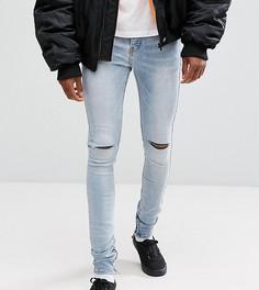 Супероблегающие джинсы с дырками на коленях Sixth June TALL - Синий