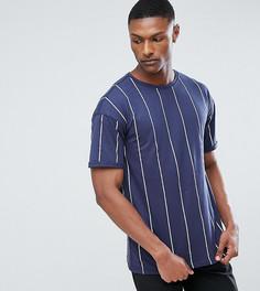 Темно-синяя оверсайз-футболка в полоску Sixth June TALL - Темно-синий