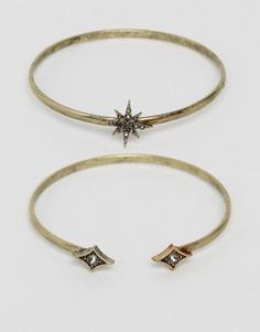Набор браслетов с камнями и отделкой в форме звезды и ромбов Liars & Lovers - Золотой