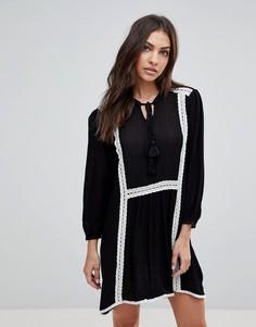 Свободное платье с длинными рукавами и кружевной отделкой The English Factory - Черный