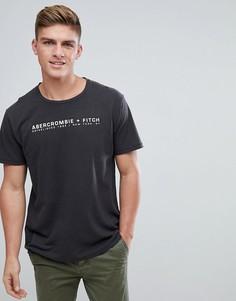 Черная футболка с логотипом и глубоким вырезом Abercrombie & Fitch - Черный