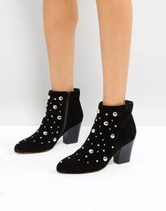 Кожаные ботинки с заклепками Office - Черный