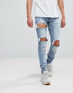 Синие джинсы скинни с потертостями Sixth June - Синий