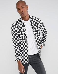 Оврсайз-рубашка в шахматную клетку на молнии Sixth June - Черный
