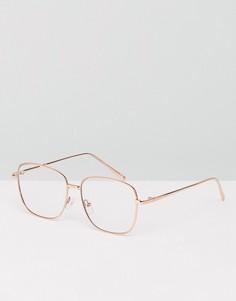 Квадратные очки в стиле 90-х с прозрачными стеклами ASOS - Золотой