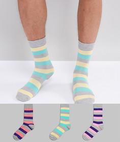 Набор носков в стиле ретро с полосками (3 пары) ASOS - Мульти
