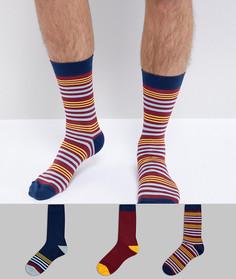 Подарочный набор из 3 пар носков в полоску ASOS - Мульти