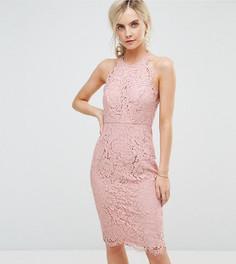 Кружевное платье-футляр миди с фигурным краем ASOS PETITE - Бежевый