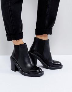 Кожаные ботинки челси на каблуке ASOS ENTAIL Premium - Черный