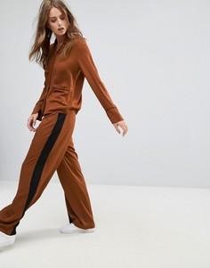 Широкие брюки с контрастными полосками Minimum - Коричневый