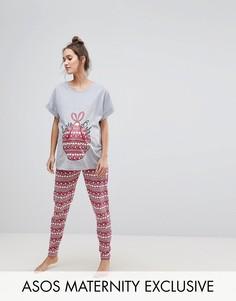 Новогодний пижамный комплект эксклюзивно для ASOS MATERNITY - Мульти