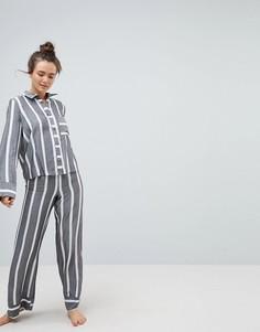 Супермягкий пижамный комплект в полоску ASOS PREMIUM - Мульти
