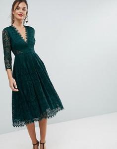 Кружевное платье миди для выпускного с длинными рукавами ASOS - Зеленый