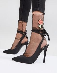 Сетчатые носки с вышивкой ASOS - Черный