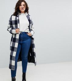 Клетчатое облегающее пальто с карманами ASOS CURVE - Мульти
