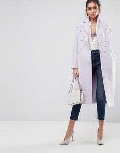 Мягкое пальто с искусственным жемчугом ASOS - Фиолетовый