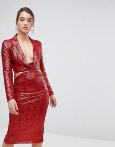 Платье миди с пайетками и вырезом ASOS - Красный