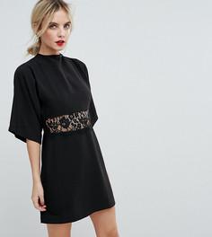 Платье мини с кружевной вставкой и рукавами кимоно ASOS PETITE - Черный