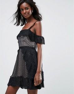 Вечернее платье мини в горошек Majorelle - Черный