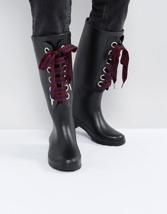 Резиновые сапоги со сменными шнурками ASOS GUMBALL - Черный