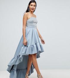 Платье миди с асимметричным краем ASOS TALL RED CARPET - Серый