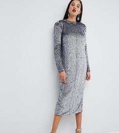 Платье миди с пайетками ASOS TALL Red Carpet - Фиолетовый