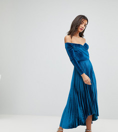 Бархатное платье миди с запахом, плиссировкой и открытыми плечами ASOS TALL - Синий