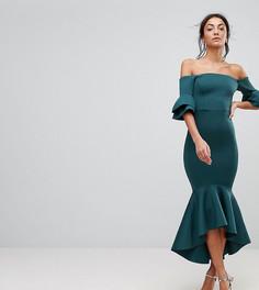 Облегающее платье миди с баской ASOS TALL PREMIUM - Зеленый