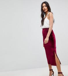 Бархатная юбка-карандаш ASOS TALL - Красный