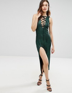 Платье миди на шнуровке Jovonna Calm Before The Storm - Зеленый